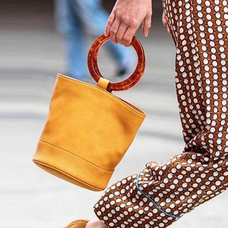 04534c5082 Nubuck Leather Bucket Bag Brand Design Bonsai Bag Twin Resin Hoop Carry  Handle Ring Circle Lady Handbags Grained Leather Purses Cheap Bags Cheap  Designer ...