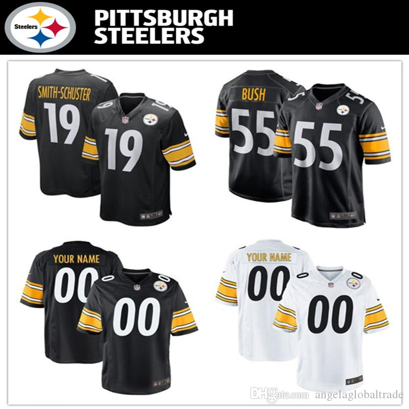 online store da3f9 0956c Men s Steelers jerseys Pittsburgh 55 Devin Bush 19 JuJu Smith-Schuster  White Black Football jerseys