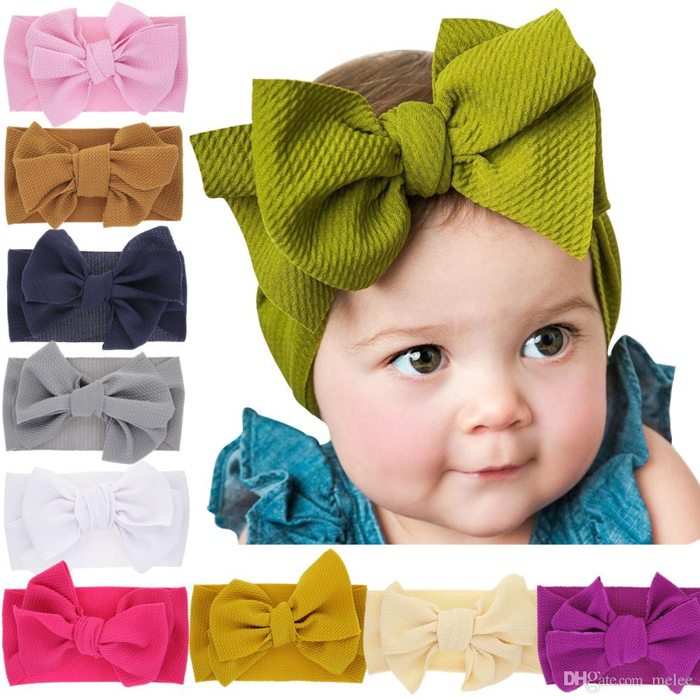 a392c178d564 Baby Girl Elastic Headband Toddler Kids Solid Color Soft Hairband ...