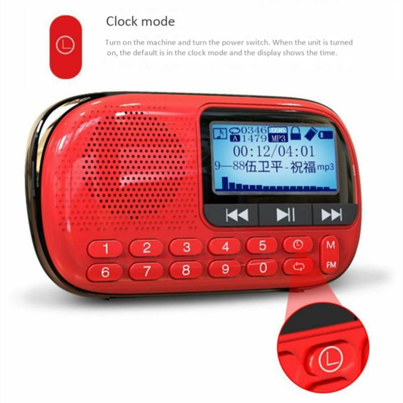 Portable digital FM radio TF card U disk MP3 player built-in speaker stereo sound broadcast LCD screen USB charging mini radios