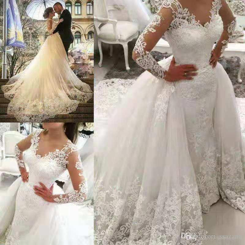 New Fashion Wedding Dress lace V neck long Sleeve Lace sexy hot selling Overskirts Wedding Dresses Sheer Robes long beautiful tail Plus Size