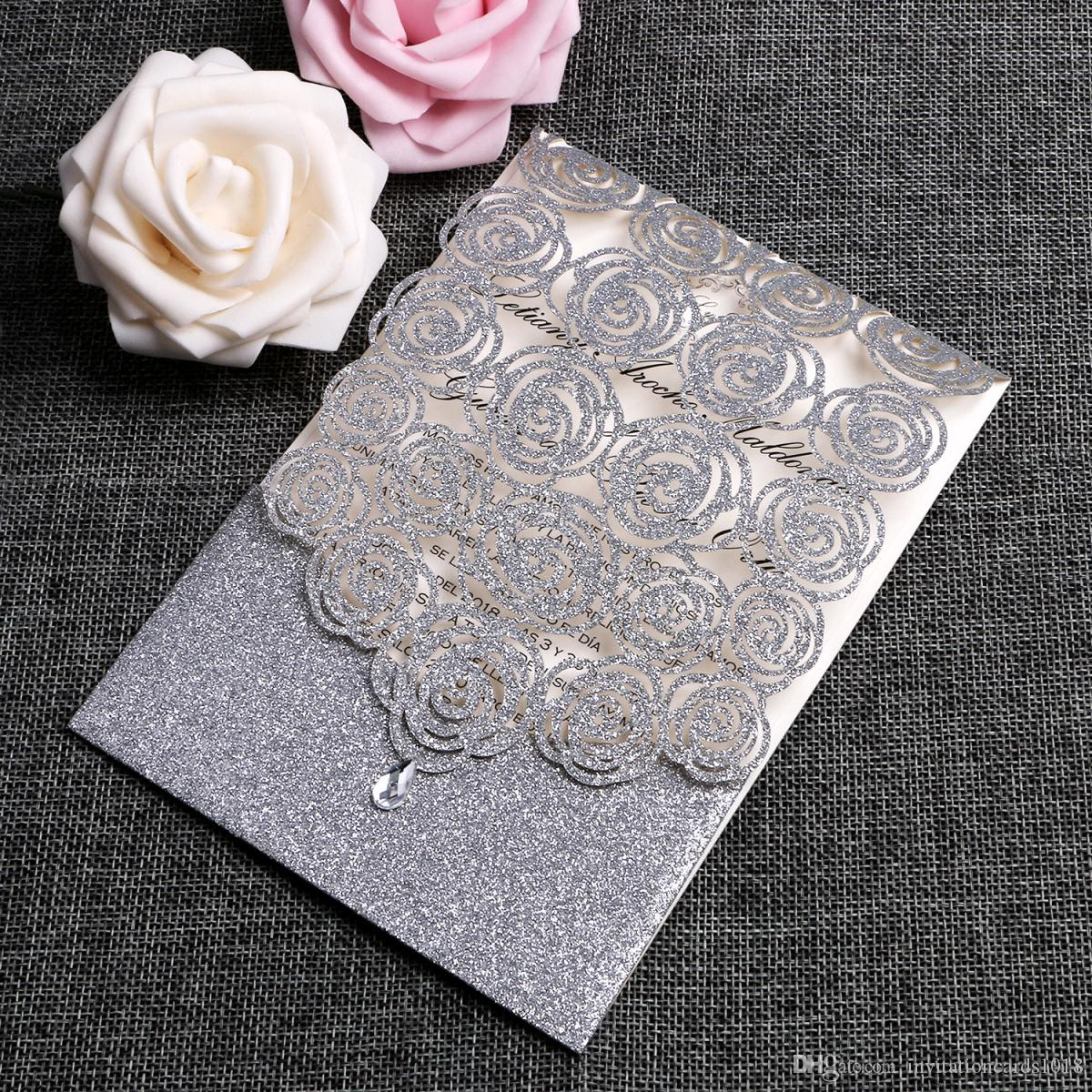 New Silver Glitter Laser Cut Wedding Invitations Cards Hollow Flora Cardstock For Bridal Shower Engagement Birthday Invites Card