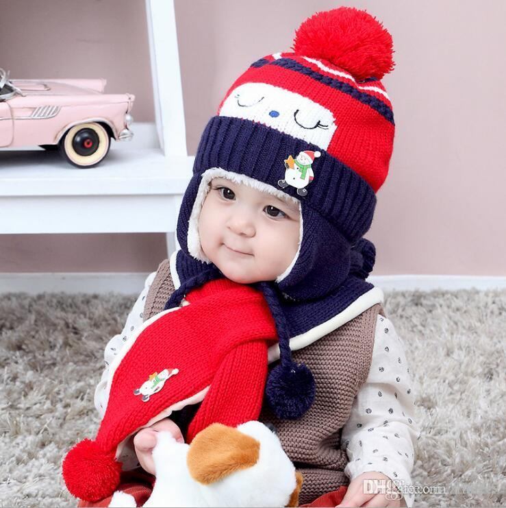 356fa2365c22a 0 month-3 years old 2 piece sets Hot Sale Boy Girl Unisex Autumn Winter  Baby Hat+Sarf Set baby hats scarf children infant caps