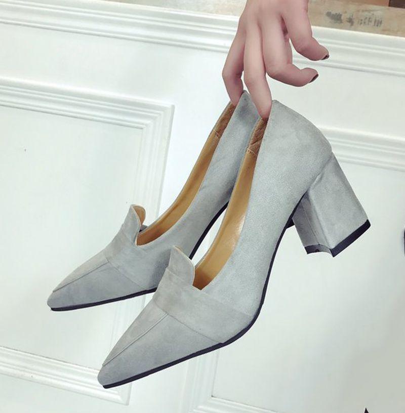 85d360311 Designer Dress Shoes New Women Pumps High Heels Loafers Comfortable Block  Heels Dress Pump Suede Ladies Fashion Pointed Toe Slip On Loafer Mens Shoes  Online ...