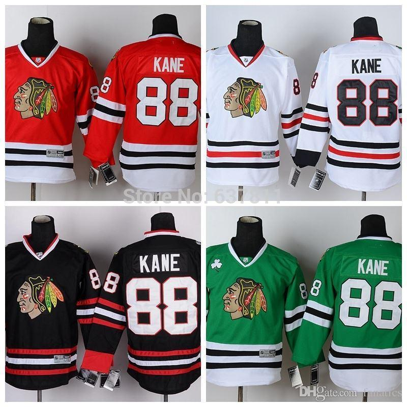 8592cb119c3 2019 2016 Youth Chicago Blackhawks Patrick Kane Hockey Jerseys  88 Patrick  Kane Jersey Kids Red White Black Green Cheap Stitched Jerseys From  Jerseysword