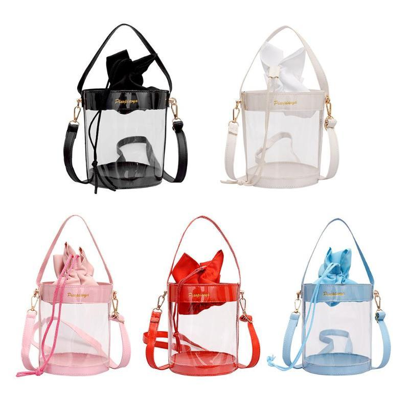Cylinder Clear Bucket Transparent Messenger Handbags High Quality PVC Casual Women Crossbody Shoulder Bags for Girls School Bags