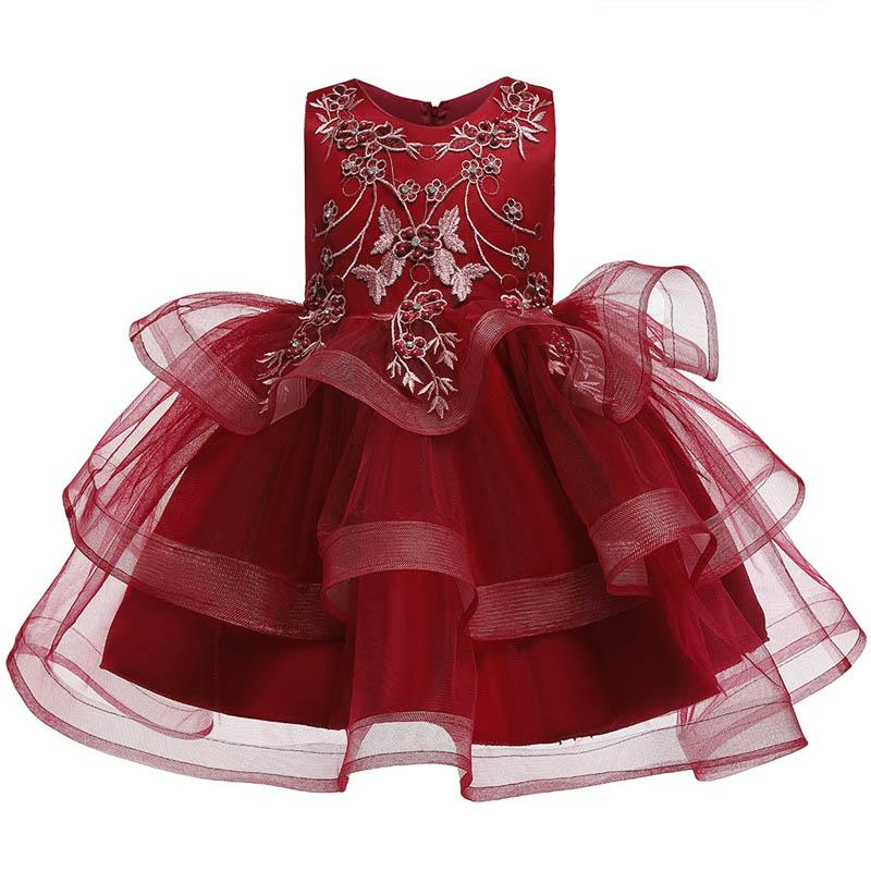 INS lace flower girl dresses for wedding girls pageant dresses kids designer clothes girls princess dresses for kids tutu dress retail A7334