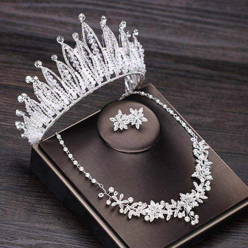 Luxurious Rhinestone Wedding Crown Tiara Pearl Statement Necklace Earrings Bridal Jewelry Sets Wedding African  Jewelry Set