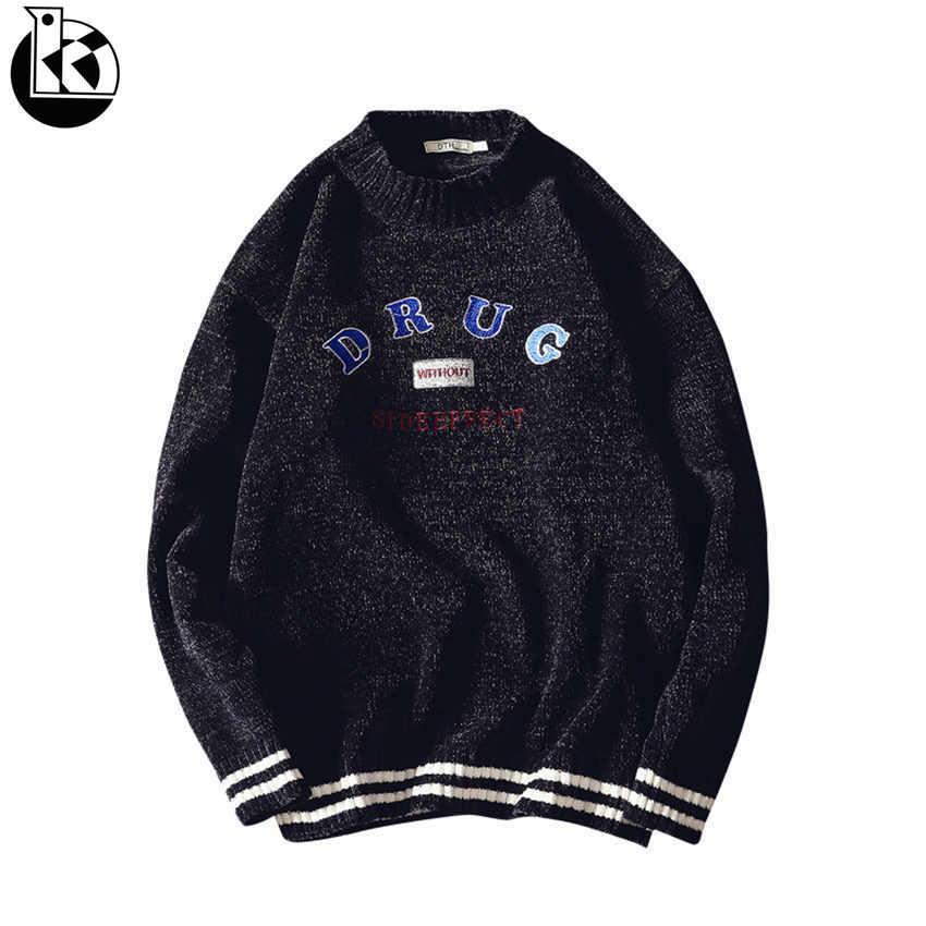 Großhandel 2018 Herbst Neue Rundhals Lose Langarm Pullover Männer Mode  Lässig Trend Brief Stickerei Dekorative Herren Pullover M ~ 3xl Von  Buttonline, ... 02314807c4