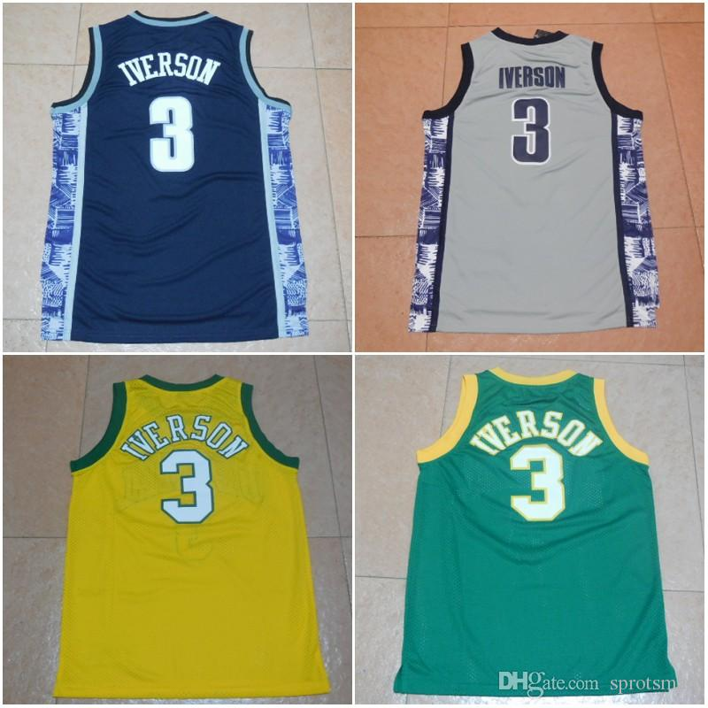 7bad178aafd2 2019  3 Allen Iverson Bethel High School Basketball Shirts Top Quality The  Answer Georgetown College Stitched Basketball Jersey S XXL From Sprotsmall