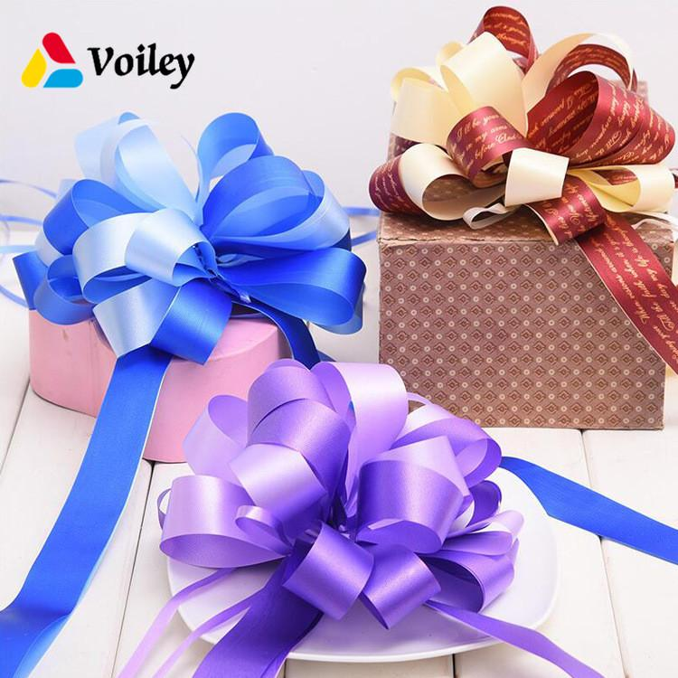 VOILEY 10pcs Pull Bow Ribbons Wedding Birthday Party Decor for Gift Packing Romantic Home Car Decor DIY Pull Flower Ribbons,B