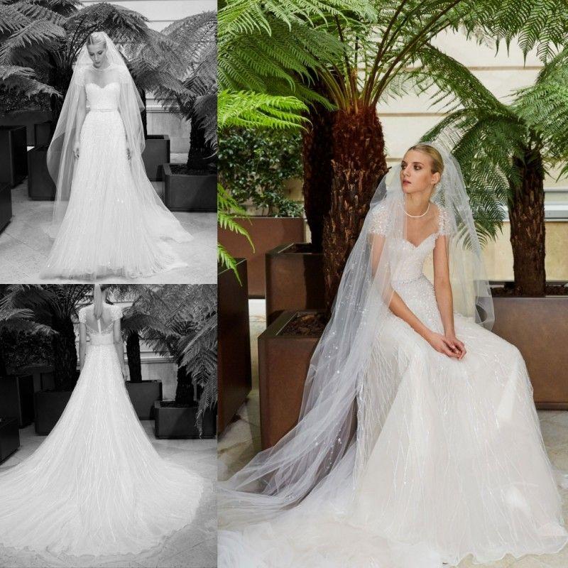 c140df10eb0 Elie Saab 2019 A Line Beach Wedding Dresses Beading Crystal Bling ...