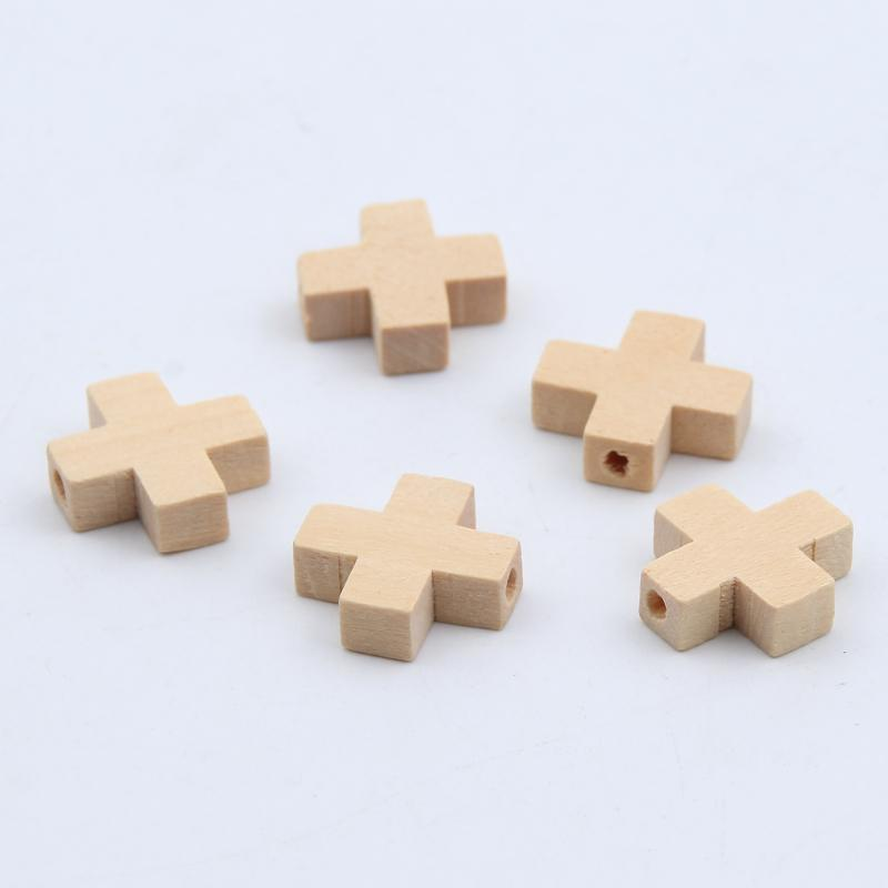 Fashion Jewelry Natural Wood Beads Cross Jewelry 50pcs For Baby Diy Kids Toys Makeing Bracelet Necklace Spacer Beading 15mm Wooden Beads