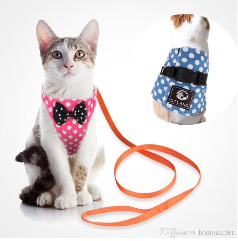 Cat/Dog Walking Jackets Cat Vest Harness and Matching Lead Leash Set with Cute Bowtie Detachable Leash Pet Reteo British Style Harness for