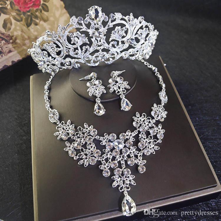 Bling Bling Crystal Beaded Bridal Crown Necklace Earring Sets Women Quinceanera Party Jewelry Formal Events Bridal Jewelry Sets Silver