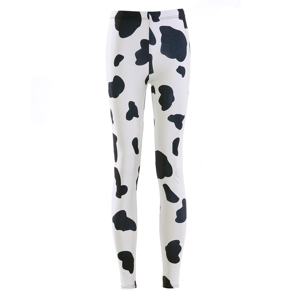 Digital Printed Glossy Pants Cow Black Spotted Tight Sexy Underpants