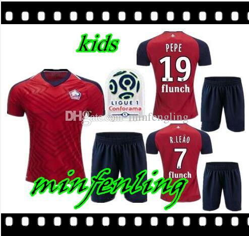 6d1832b84 Kids Kit 2018 2019 Lille Losc Soccer Jersey Home Away Green18 19 ...