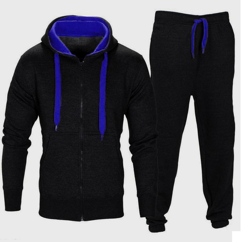 23165e4f3d9c4 Compre Treino Homens 2019 Outono Sportwear Moda Mens Set Com Zíper Moletom  Com Capuz Jaqueta + Calça Conjuntos De Moleton Masculino Dec7 De Aprili