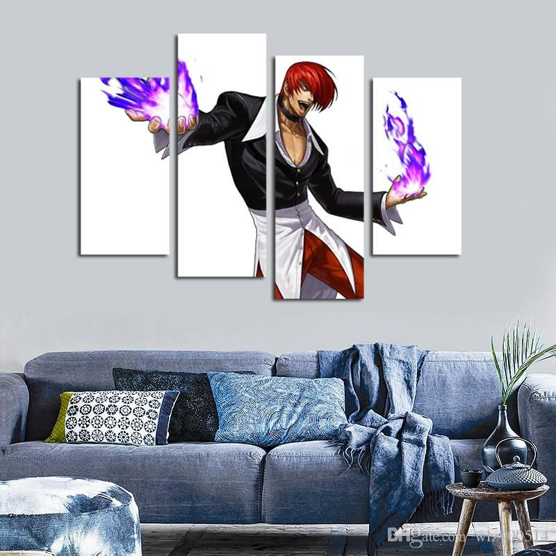 4pcs/set Unframed Iori Yagami Anime Poster Print On Canvas Wall Art Picture For Home and Living Room Decor