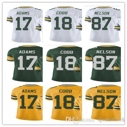 watch 97743 1ff3c custom Green Bays Men Women Youth Packer Jersey #17 Davante Adams 18  Randall Cobb 87 Jordy Nelson Vapor Limited Jerseys