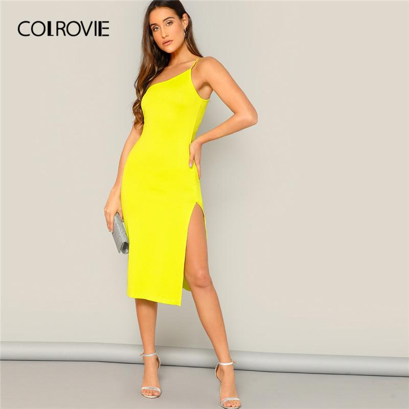 12f48a32a1a6 Compre COLROVIE Neon Amarelo Dividir Lado De Um Ombro Sexy Cami ...