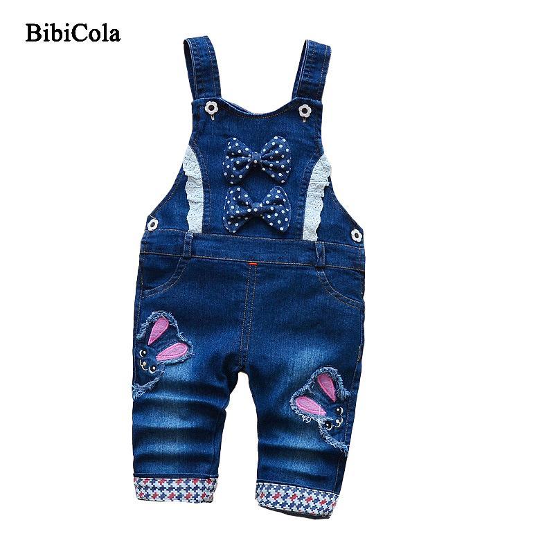 40e03932ad172 Acheter Qualité Nouveau Printemps Filles Pantalon Enfants Denim Salopette Filles  Jeans Bande Dessinée Motif Bébé Enfants Filles Bib Pants Combinaison ...