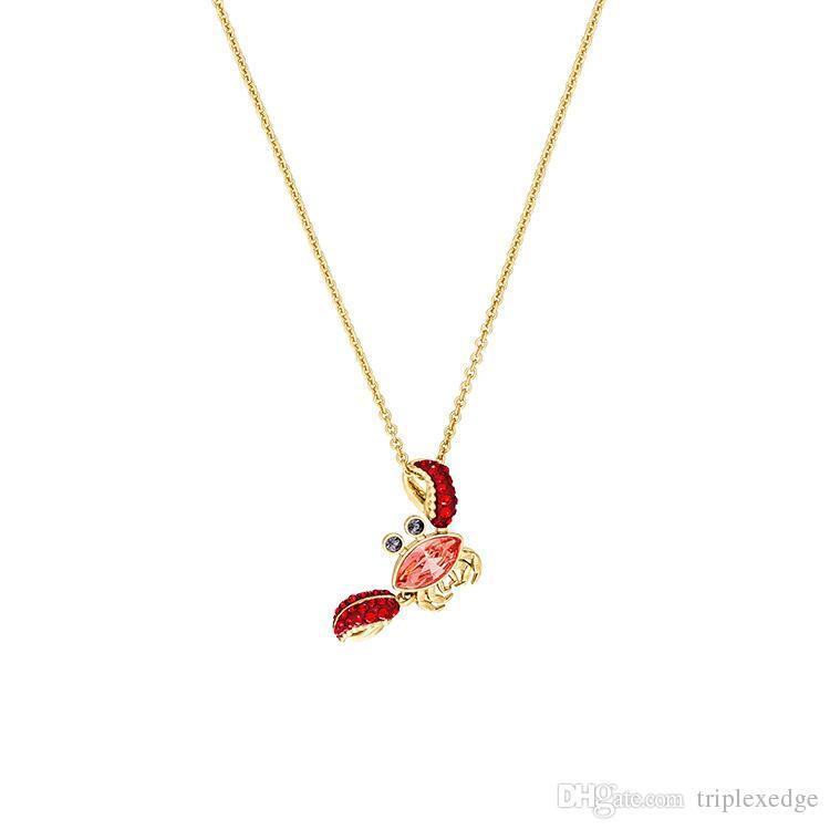 b21db0e04bfb 2019 nuevo Swarovski cristal lindo cangrejo rojo collar colgante Verano  vitalidad moda salvaje mujer cadena de clavícula Marca boutique de joyería