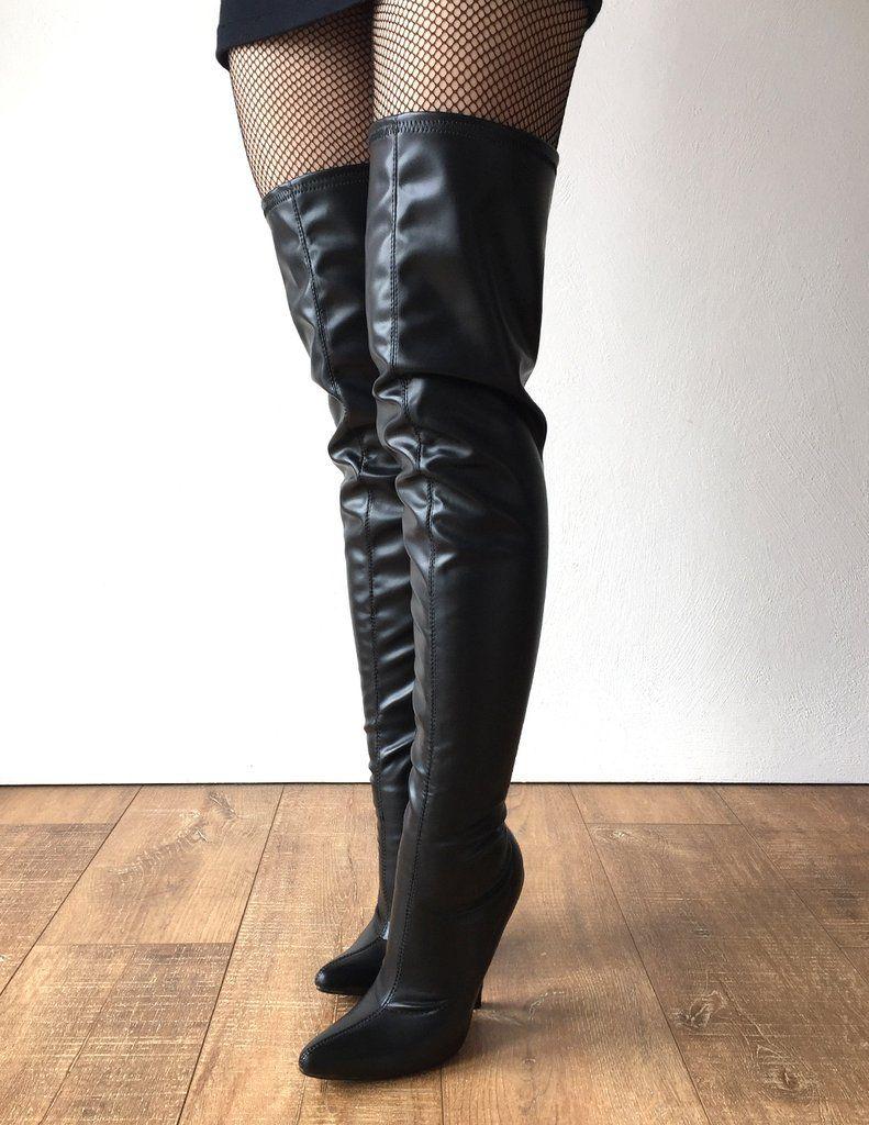 more photos 4267d 15ffa Stivali neri sexy con tacchi alti da donna 12Cm Stivali neri lunghi con  tacchi alti da donna Plus Size