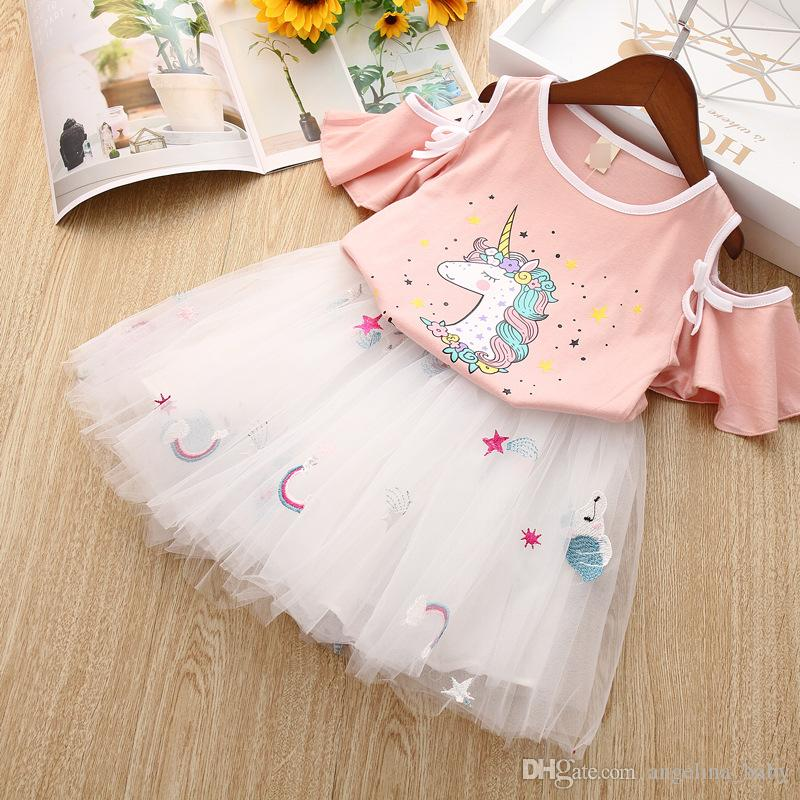 369758f1 Girl Clothes Unicorn Print Set 2019 Summer Children Clothing Sets Unicorn  Short Sleeve T-shirt +Embroidery Rainbow Tutu Skirt 2pcs Sets Kid