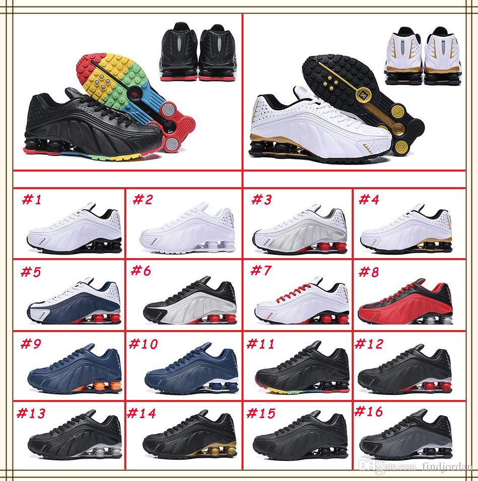 2019 Avenue Deliver Current Shox NZ R4 301 Mens Basketball Shoes White Comet Red Black Metallic Silver Multicolour Designer Sneakers Men Trainers From