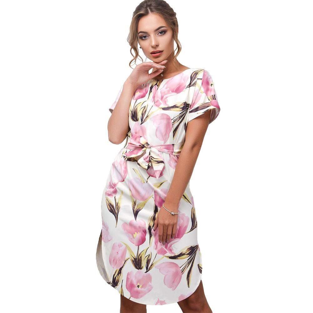 a36cd728d5 Floral Print Summer Dress For Women Sexy V Neck Short Sleeve Slit Self Tie  Waist Boho Beach Dresses Lady 2019 New Female Vestido Black Dresses Long  Dresses ...