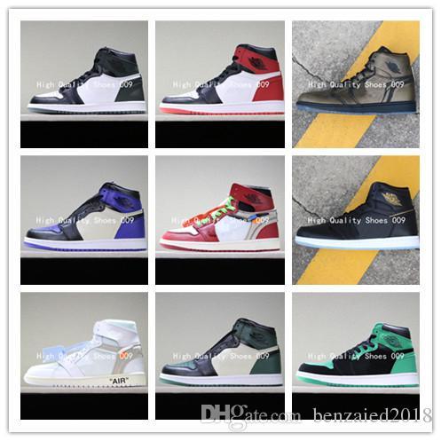2019 Best AJ1 I High OG Gioco Royal Banned Shadow Bred Toe Scarpe da pallacanestro Top Quality Clay Green Scarpe da ginnastica 1S Sneakers 555088 135