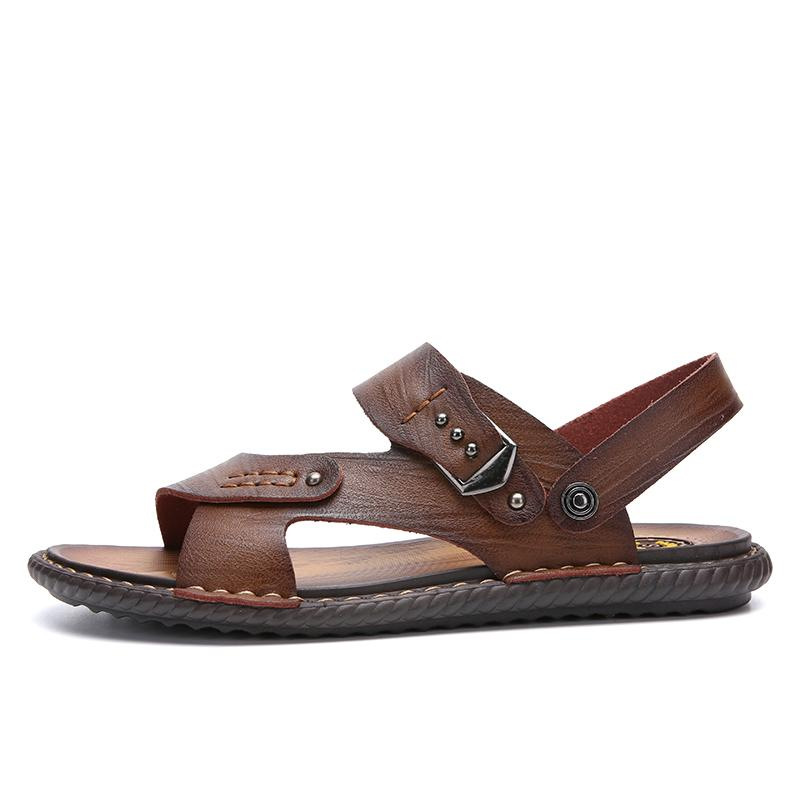c7385c99314b7 Summer Men Sandals Breathable Leather Men Beach Sandals Brand Casual Shoes  Comfortable Slip On Casual Cheap Sandal White Wedges Cheap Shoes For Women  From ...