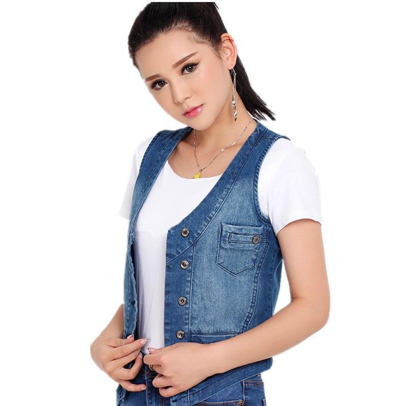 ec59b006571 Plus Size S-5XL Women s Denim Vest 2018 Female Sleeveless Jacket ...