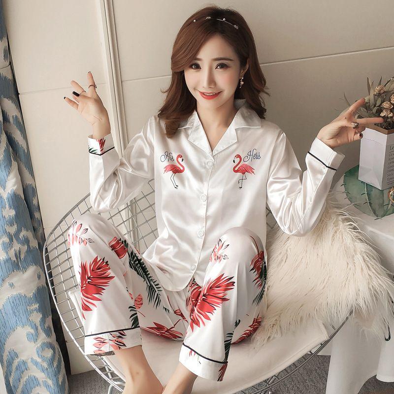9c3618cd5 2019 Autumn Winter 2018 New Women Pyjamas Sets Silk Long Tops Set Female  Pajamas Set NightSuit Sleepwear Sets Long Pant Women Night From Jasm, ...