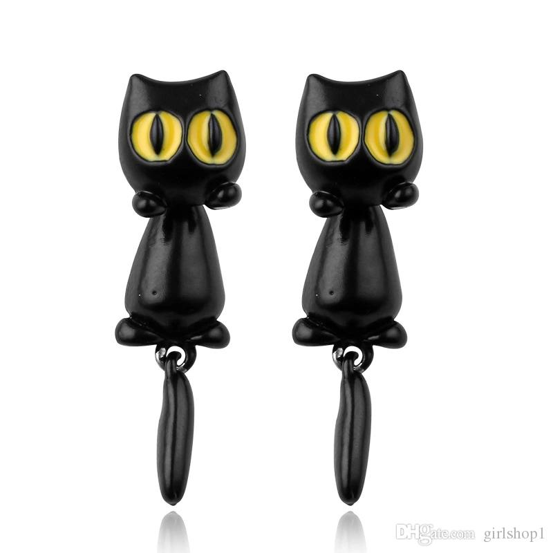Korean Version Cute And Naughty Big Eyes Kitten Long Tail Pendant Split Style Creative Soft Clay Stud Earrings