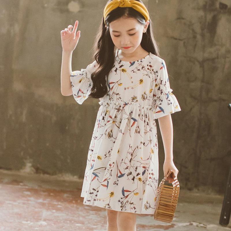 9962d3dfb Gasa Floral Niños Vestidos Para Niñas Verano Flare Manga 2 4 6 8 12 10 Años  Vestidos Chicas 2018 Blanco Amarillo Princesa Ropa Y190516