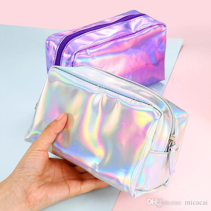 Laser Cosmetic Bag Fashion Holographic Pencil Case Cosmetic Makeup Pouch Laser Zipper Purse Bag Toiletry Cases