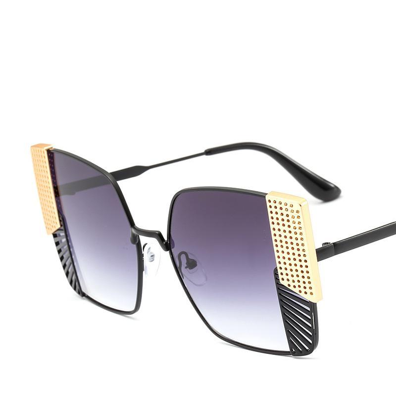 9cbfc793b13 2018 Ladies Metal Frame Square Sunglasses Women Brand Designer Cat Eye  Sunglasses Women Gradient Fashion Sun Glasses Men UV400 Online with   20.25 Piece on ...