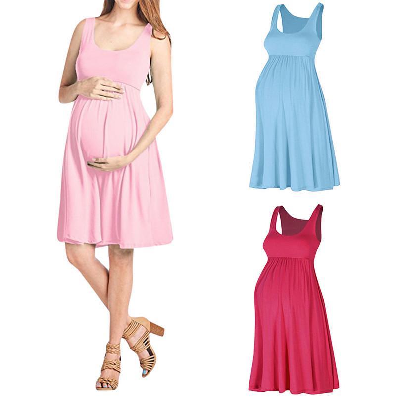 767b364dc Compre Ropa De Maternidad Vestidos De Maternidad Moda De Verano Vestido De  Embarazo Maternidad Chaleco Sin Mangas Sólido Causal Mini Vestido JE12   F  A ...