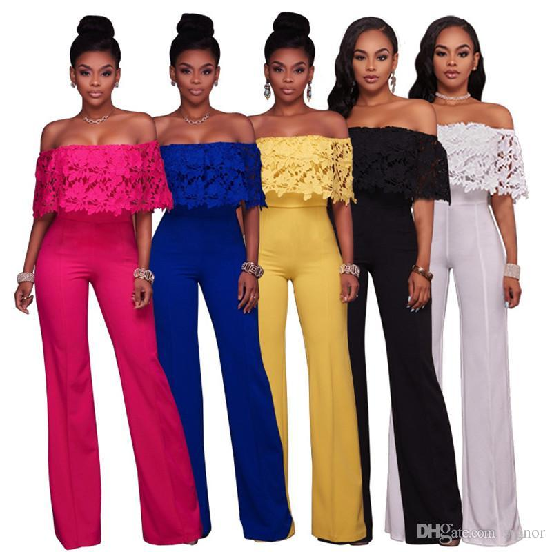 7cf2a220031 2019 2017 Ladies Latest Lace Jumpsuits Lotus Collar Off Shoulder Romper One  Piece Loose Pants Sexy Strapless Backless Jumpsuit KD 037 From Signor