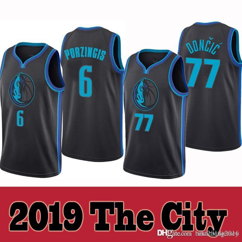 2019 2019 New The City Dallas Jersey Mavericks 77 Luka   Doncic 6 Kristaps    Porzingis Blue Black Basketball Jerseys From Tukameng2016 3e26349aa