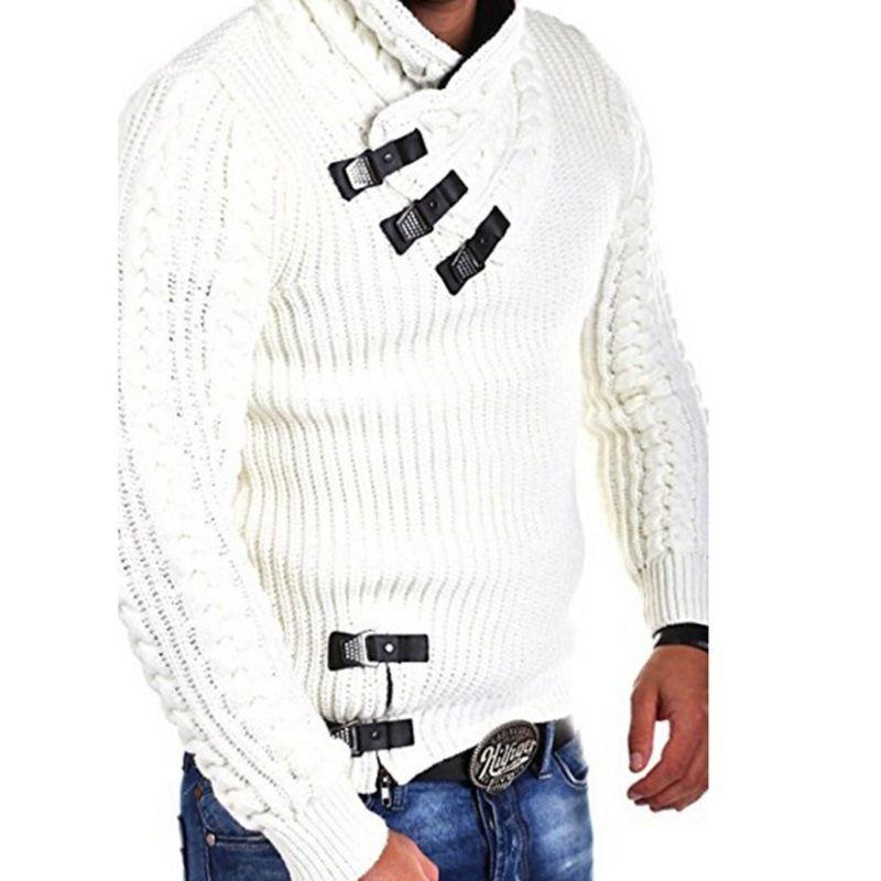 809271436e Uomo dolcevita inverno chunky intrecciato maglione lavorato a maglia manica  lunga tinta unita pullover top con bottoni in similpelle casual