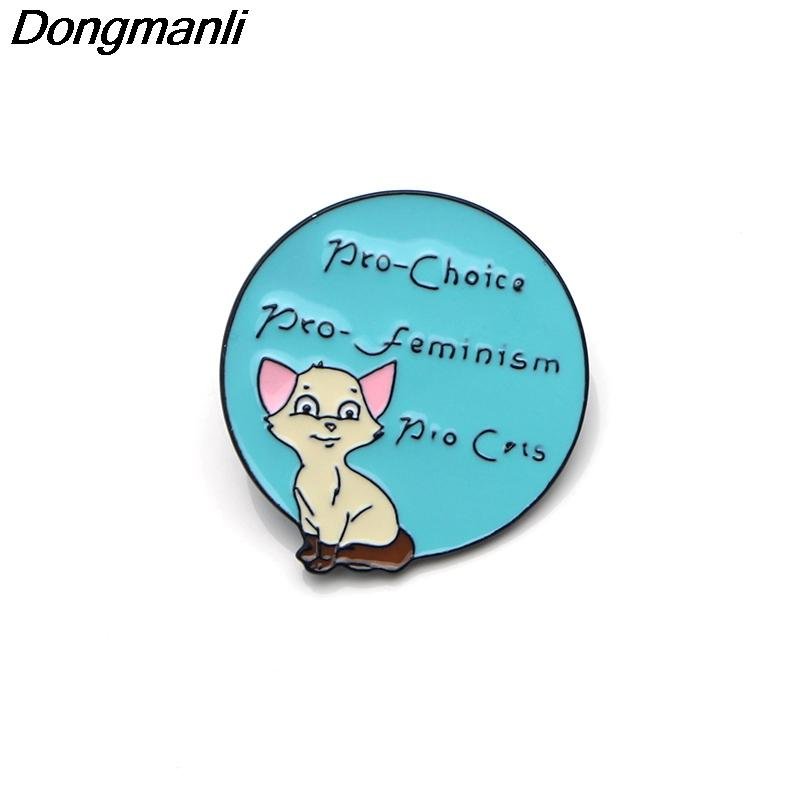 P3559 Dongmanli Pre Feminism Pro Cats Metal Enamel Pins and Brooches for  Fashion Lapel Pin Backpack Bags Badge Gifts