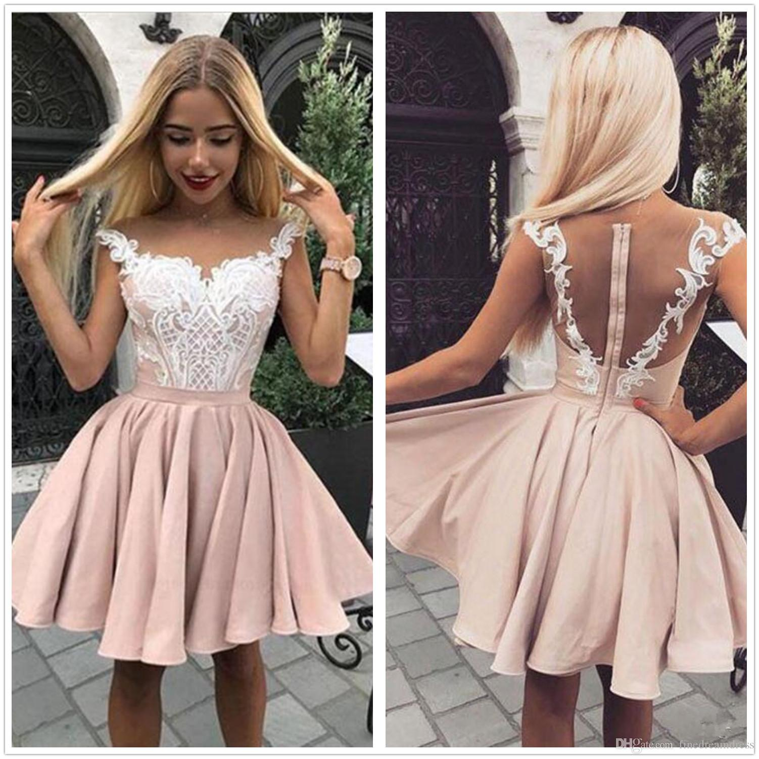 312f051e442 2019 Illusion Cap Sleeves Satin A Line Homecoming Dresses Tulle Lace  Applique Ruched Knee Length Formal Party Cocktail Prom Dresses Cute  Homecoming Dresses ...