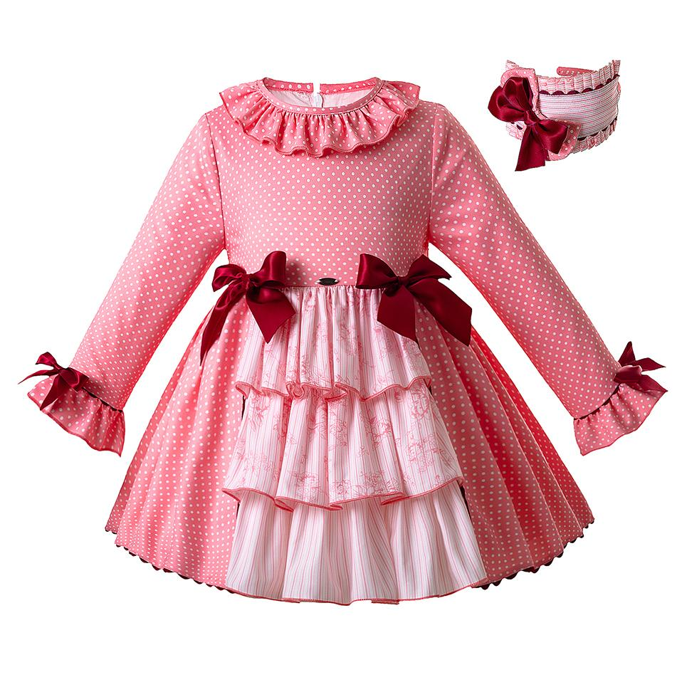 5eb2fdcf5c91 2019 Pettigirl New Fashion Pink Baby Girls Dresses Lotus Leaf Collar ...