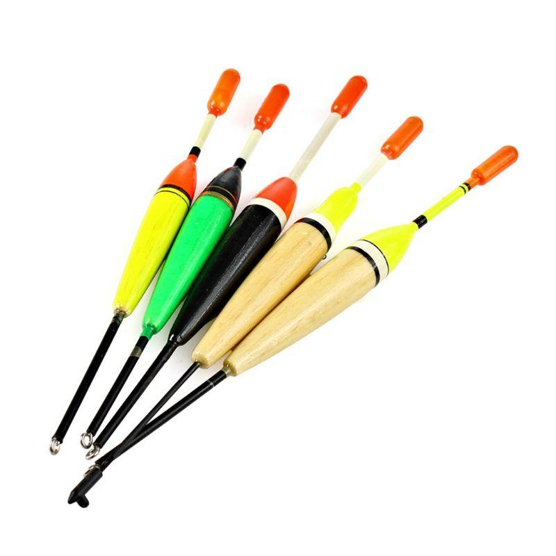 5Pcs/Set Outdoor Fishing Floats Set Buoy Bobber Floats Fluctuate Fishing Stick Mix Size Color