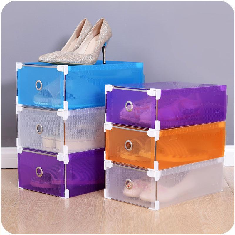 7 Colour Eco-Friendly Shoe Storage Box Case Transparent Plastic Storage Box Rectangle PP Shoe Organizer Thickened Drawer Shoe Box