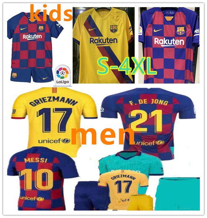 new concept f2765 bb385 2019 2020 messi Soccer Jersey Barcelona FC men kids Football kit 19 20 DE  JONG GRIEZMANN SUAREZ Rakitic Football jersey