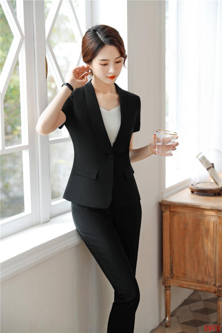 eb234f1060195 2019 Summer Formal Ladies Black Blazer Women Business Suit Pant And Jacket  Set Work Wear Office Clothes Pantsuits From Begonier, $46.59 | DHgate.Com